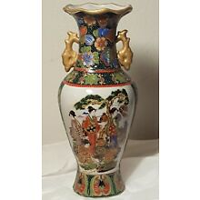 ANTIQUE  JAPANESE MORIAGE  GEISHA COURT FLOWERS  VASE  12
