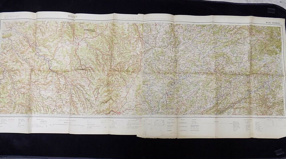 ANTIQUE ROAD MAP of Dijon & Vesoul France Pre WW2 1912 Topographical ...