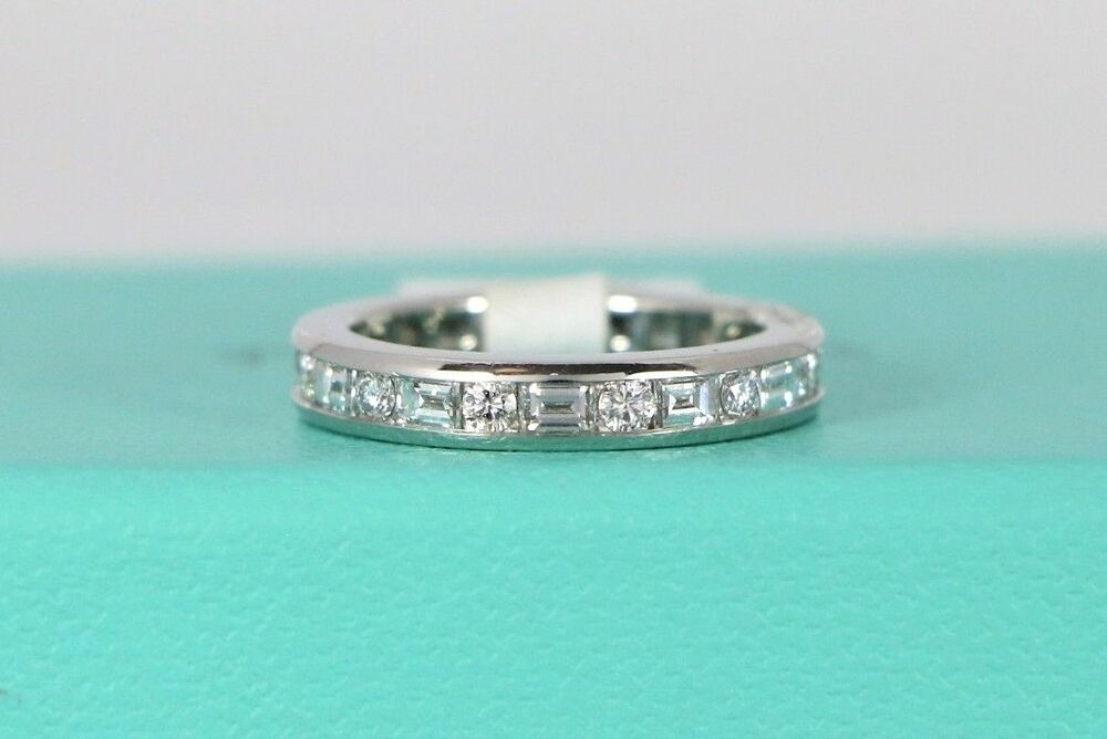 d2e133030 Details about Tiffany Co Platinum Baguette Round Diamond Ring Channel  Eternity Band 5.5