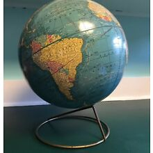 VINTAGE CRAM'S IMPERIAL 12IN. ROUND WORLD GLOBE WITH STAND MID CENTURY
