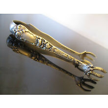 Antique Vintage Rose American Beauty Shiebler Sterling Silver Claw Sugar Tongs!