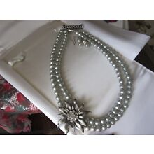 Vintage Handmade Silver Glass Beaded Necklace and Earring Set  STUNNING!!