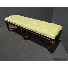 Vintage Mid Century Lime Green Tufted Bench ~ End of Bed Bench ~ French Country