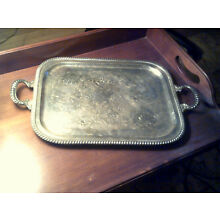Lovely Vintage Ornate Silverplate Serving Tray Handled and Footed 23