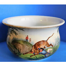 Antique Ceramic Chamber Pot Colonial India Tiger Hunt Scene Hand Painted!