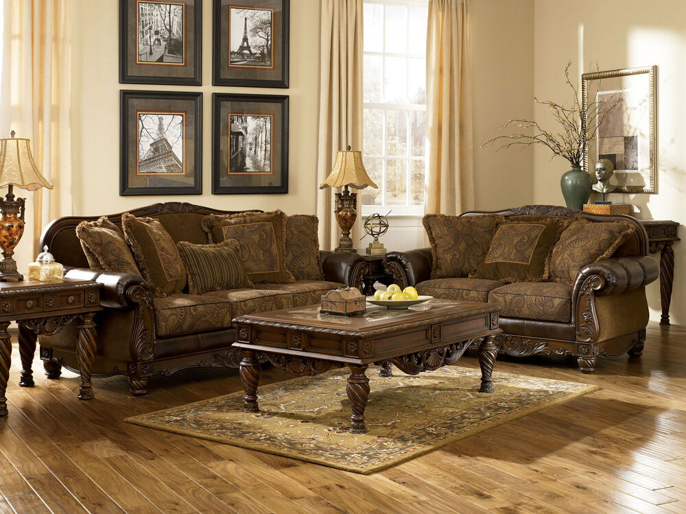 Traditional Living Room Wood Trim Brown Fabric Sofa Couch