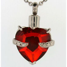 Red Heart Cremation Jewelry Keepsake Pendant Urn with 20
