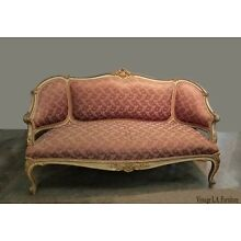 Vintage French Provincial Louis XVI Rose Settee Rococo Canape Loveseat