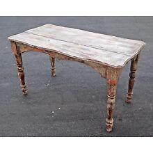 Farmhouse Chic Rustic Crackle Distressed Carved Table / Desk