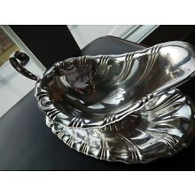 Rogers Silver Co. # 213 Neptune Pattern Gravy Boat with tray plate