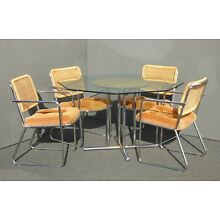Vintage Mid Century Dining Set Table & Four Chrome Rattan Orange Velvet Chairs