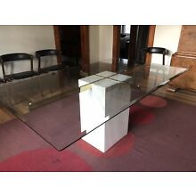 Vintage Italian Artedi Travertine Base Brass and Glass Top Dining Table