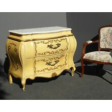 Vintage Bombay Bombe French Provincial Country Rococo Gold Commode Marble CHEST