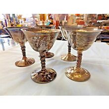 Set- 5 F.B. Rogers (1) Valero (3) Unmarked (1) Silver Plate Goblets Made - Spain