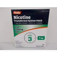 Rugby Clear Nicotine Transdermal System 14 Patch Step 3 - 7 mg Patches EXP 04/19