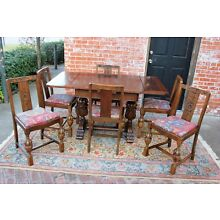 English Antique Oak Art Deco Draw Leaf Kitchen Table & 6 Chairs   Dining Set