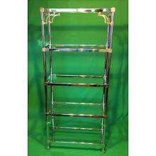 Vintage Mid Century Modern Chrome Etagere Four Shelf Bookcase
