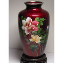 ANTIQUE CLOISONNE JAPANESE VASE PEGION BLOOD RED ROSES STERLING SILVER TOP BASE