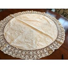 Antique white cotton tablecloth hand embossed design/lace exquisite 29 x 32