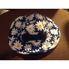Girls Gerber Baby Sun Hat orange/white/blue flowered with bow size 18 mo