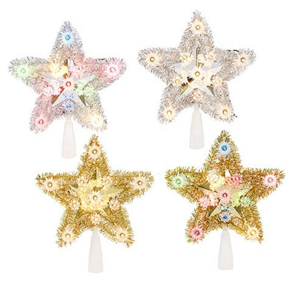 Christmas Tree Star Topper Tinsel Silver Gold White Lights Colored Lights Ebay