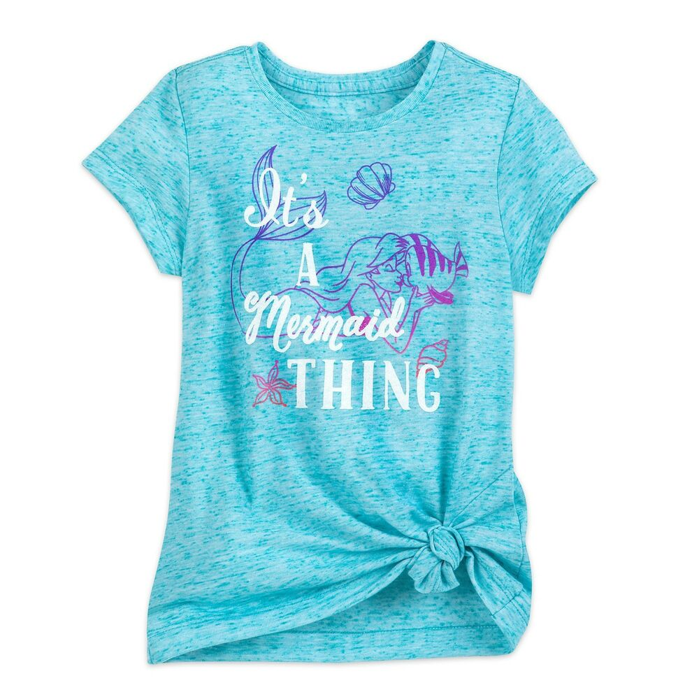 6ea32d56990 Details about Disney Store Ariel The Little Mermaid and Flounder Tee T-Shirt  for Girls Sz 2