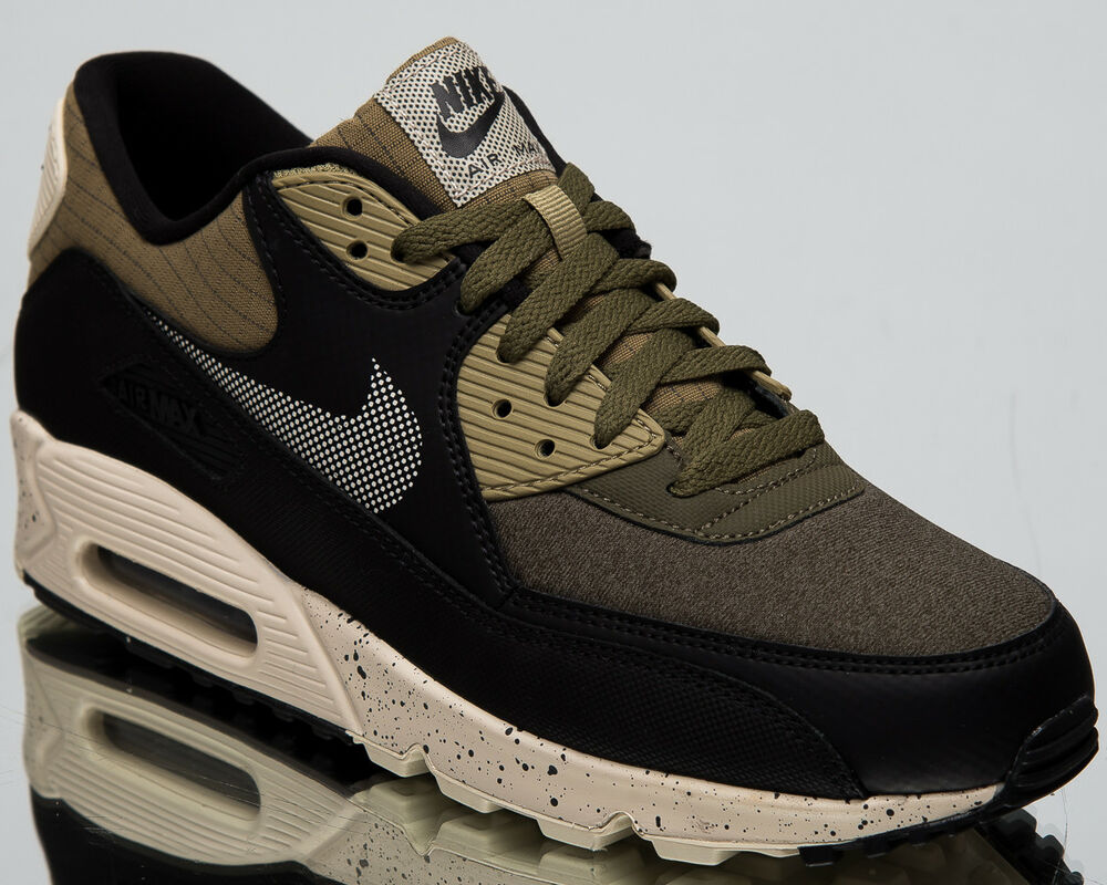 big sale df63b 55ac9 Details about Nike Air Max 90 Premium Men s New Neutral Olive Black Casual  Sneakers 700155-203