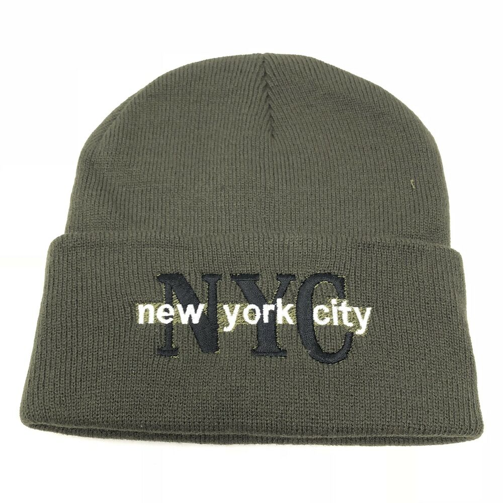 9e3c5f6e464 Details about NYC New York City Logo Hat Solid Knit Cap Beanie Winter Cuff  Army Green Unisex