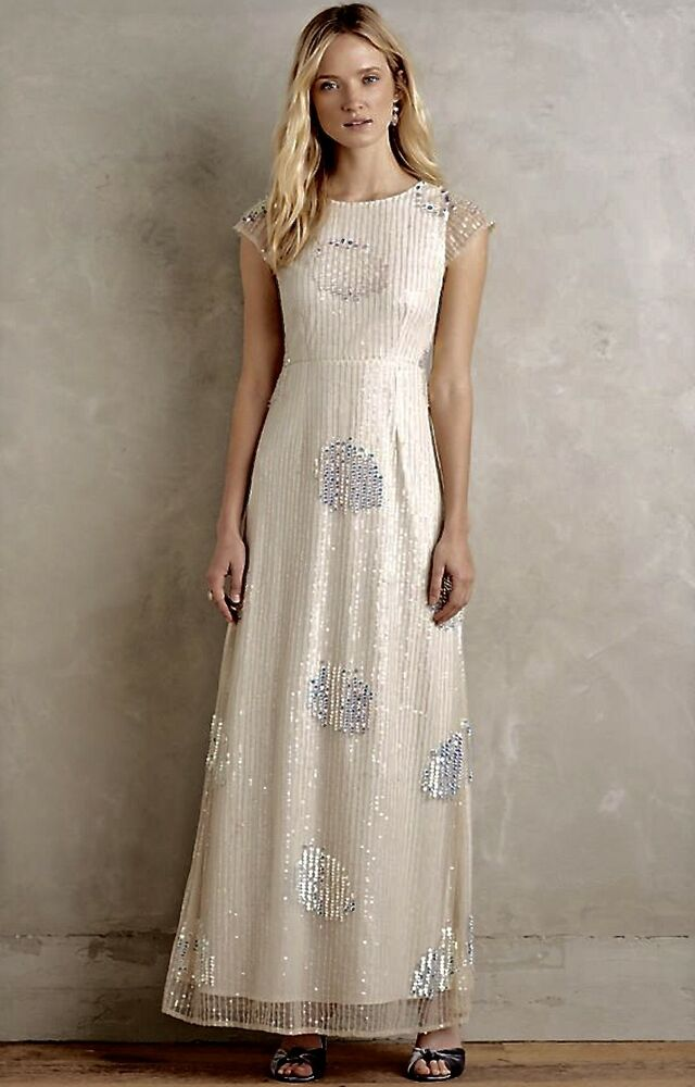 b90ad7ecee68 Details about NWD Korovilas ivory Iridescent Sequin On Mesh Bought at Anthropologie  Gown 8
