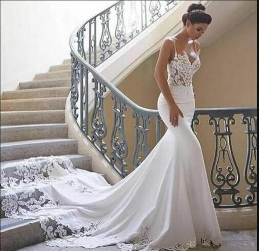 a74289e9d5f Details about Noble Lace Satin Mermaid Wedding Dresses Long Train Spaghetti  Straps Bridal Gown