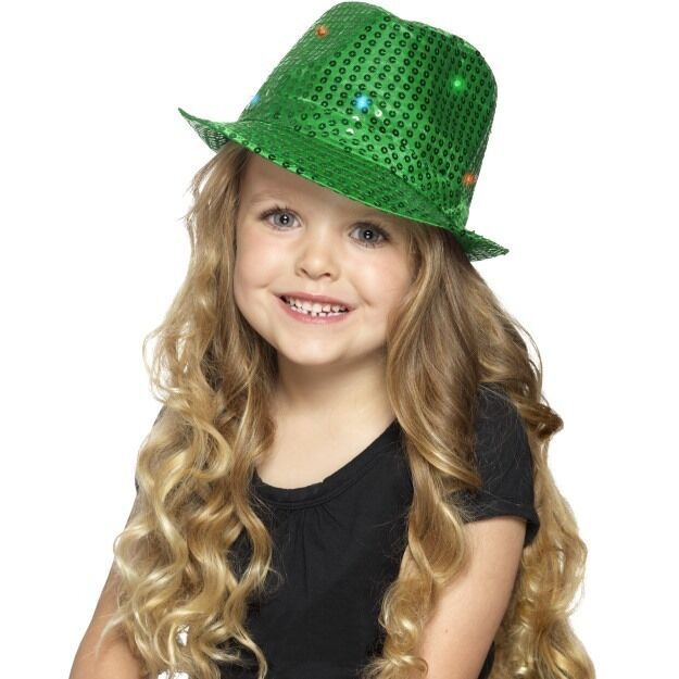 Details about Girl s Green Light Up Sequin Trilby Fancy Dress Hats Kids  Party Dance Shows 6815cc1fce7