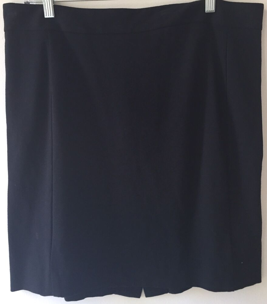 4a406fa91c Details about DKNYC Women's knee length solid black pencil skirt back  zipper size 14