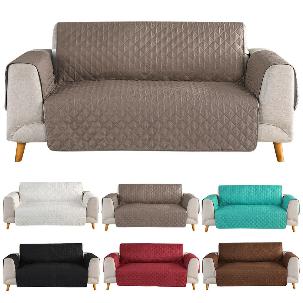 Details About 1 2 3 Seat Quilted Microfiber Sofa Couch Cover Pad Chair Throw Pet Dog Kids Mat