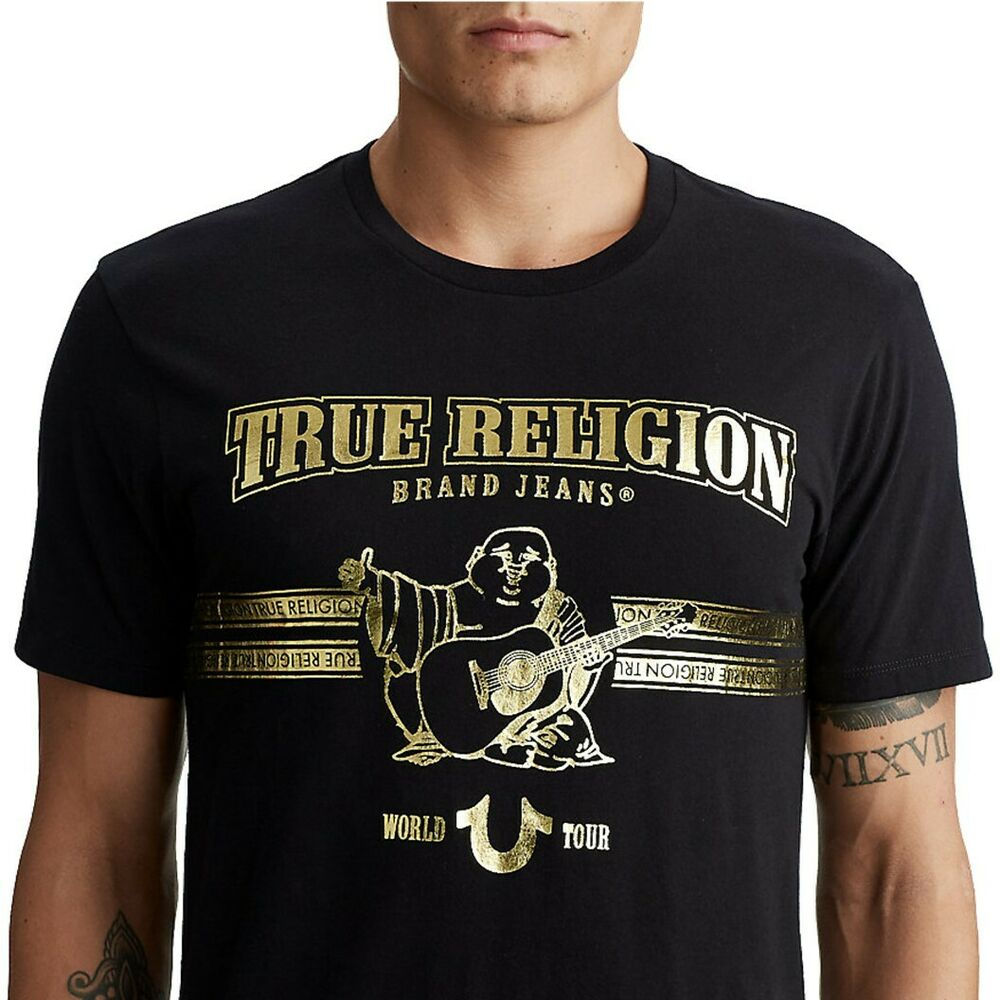 True Religon Men S World Tour Buddha Gold Metallic Foil Tee T Shirt In Black Ebay
