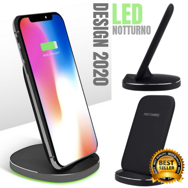 CARICATORE WIRELESS CARICABATTERIE QI 10W PER IPHONE X XS XR 11 SAMSUNG S9 S10