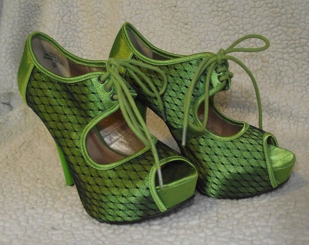 3473984828 De Blossom Collection Green Satin with Lace Open Toe High Heel Shoes Size 6  EUC | eBay