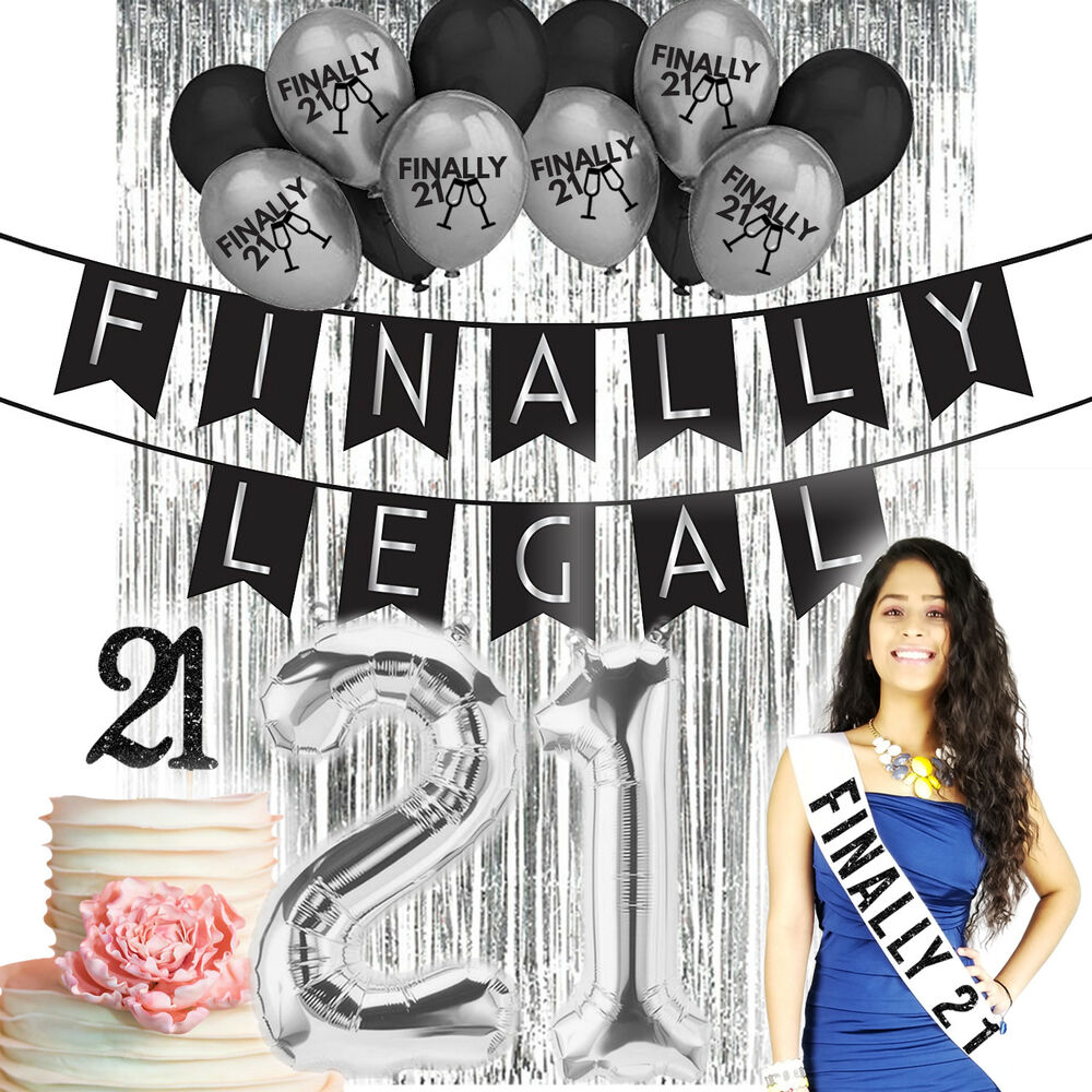 Details About 21st Birthday Decorations 21 Party Supplies Finally Legal