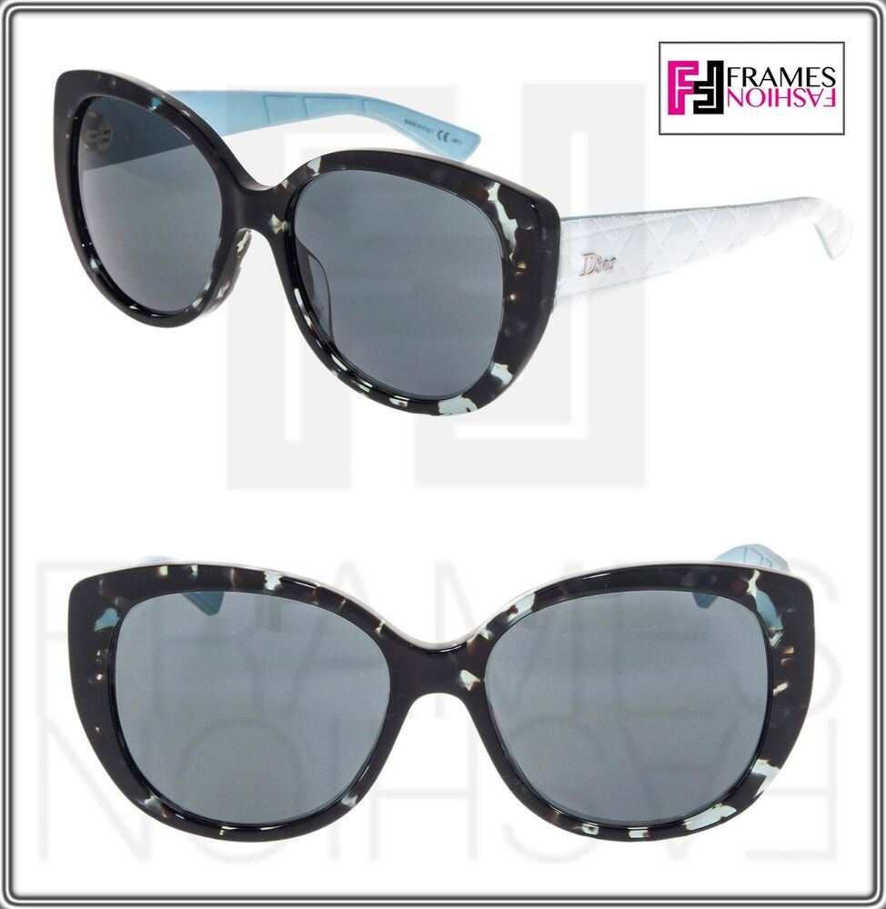 50afc8165d CHRISTIAN DIOR LADY 1R White Leather Blue Rubber Signature Sunglasses  LADY1R