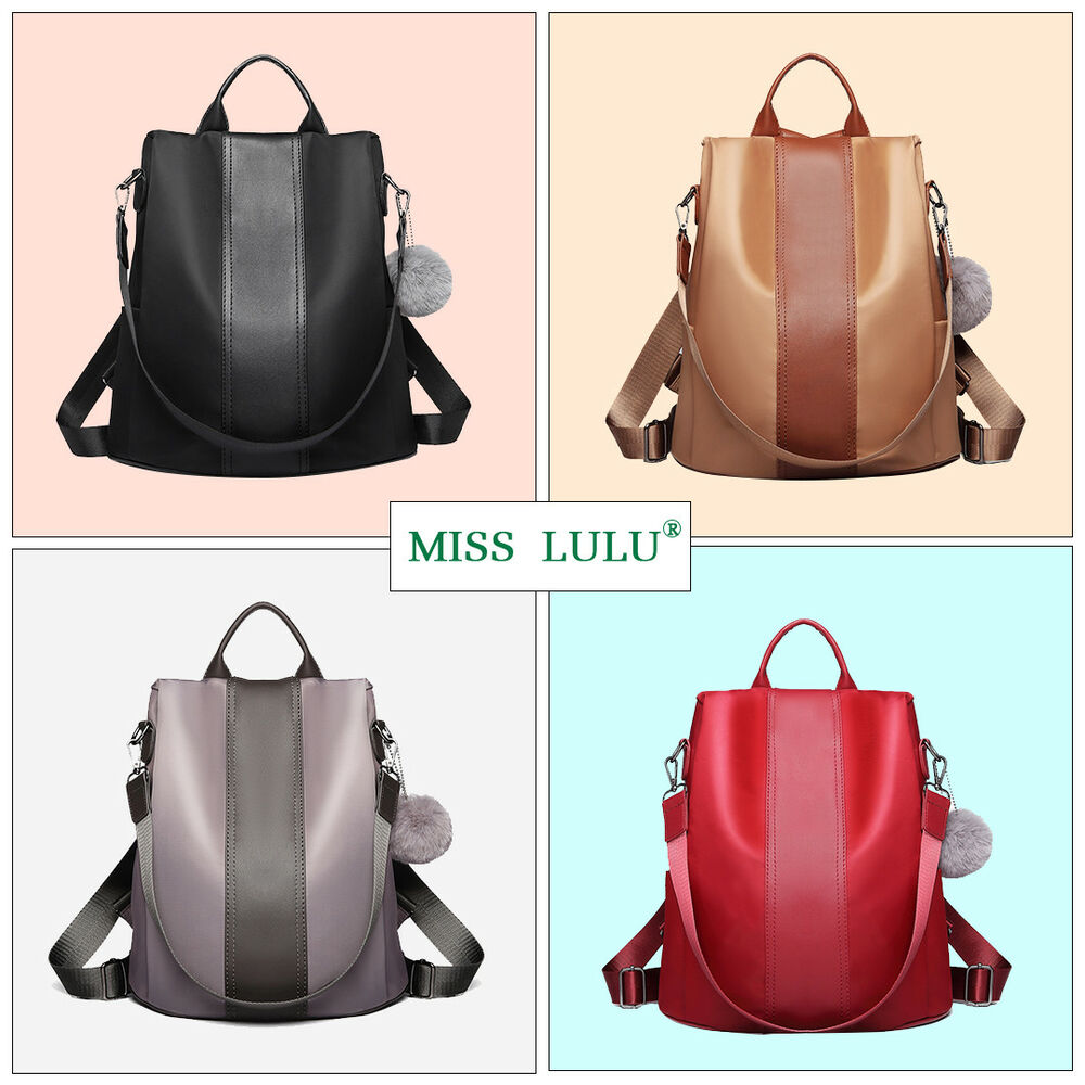 af64bf16862f Details about Miss Lulu Ladies Women Nylon Pompom Backpack Handbag  Anti-theft Shoulder Bag