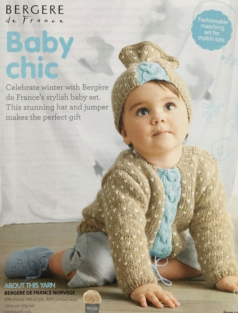 52ac7012f344 KNITTING PATTERN Baby Chic Cable Jumper Matching Hat Jacquard ...