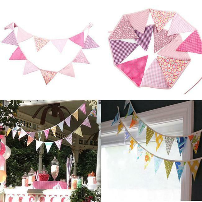 Colorful Triangle Fabric Flag Pennant String Banner Party Holiday Decor DD