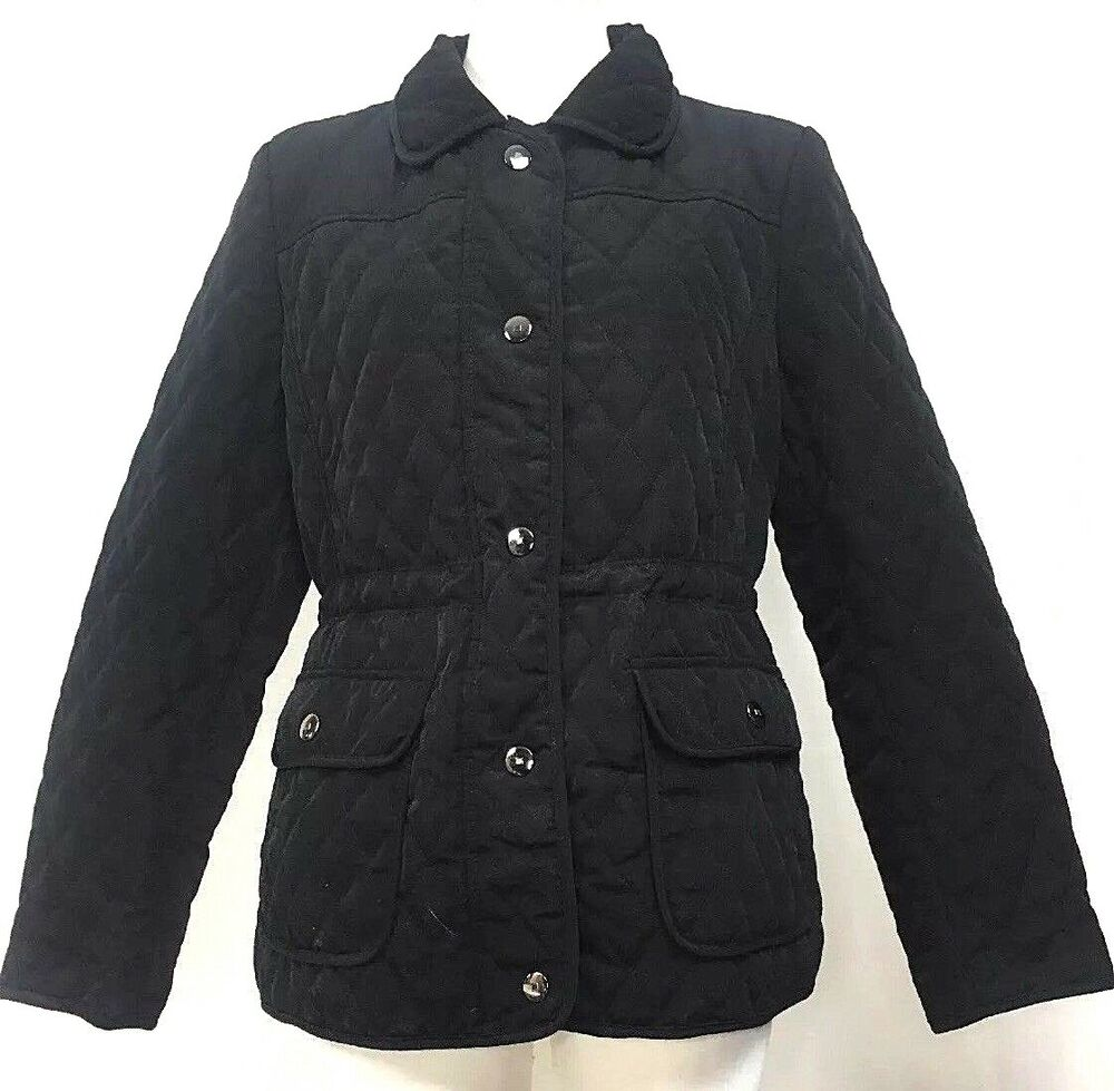 9604b16f09c2 Gallery Womens Quilted Coat Jacket Black Silver Snap Button Size ...