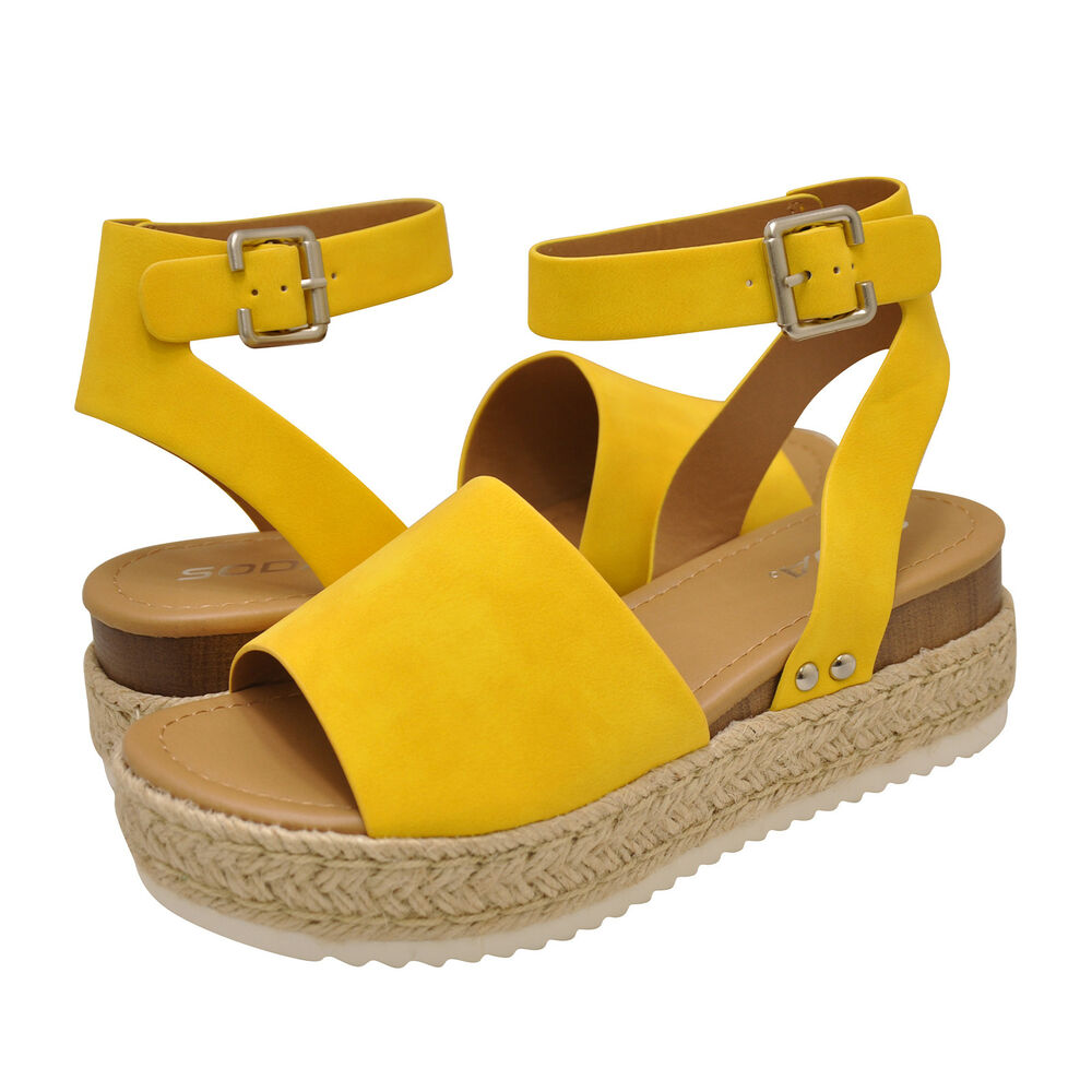 6f5de93fab3 Details about Women s Shoes Soda TOPIC Platform Wedge Espadrille Sandals  YELLOW