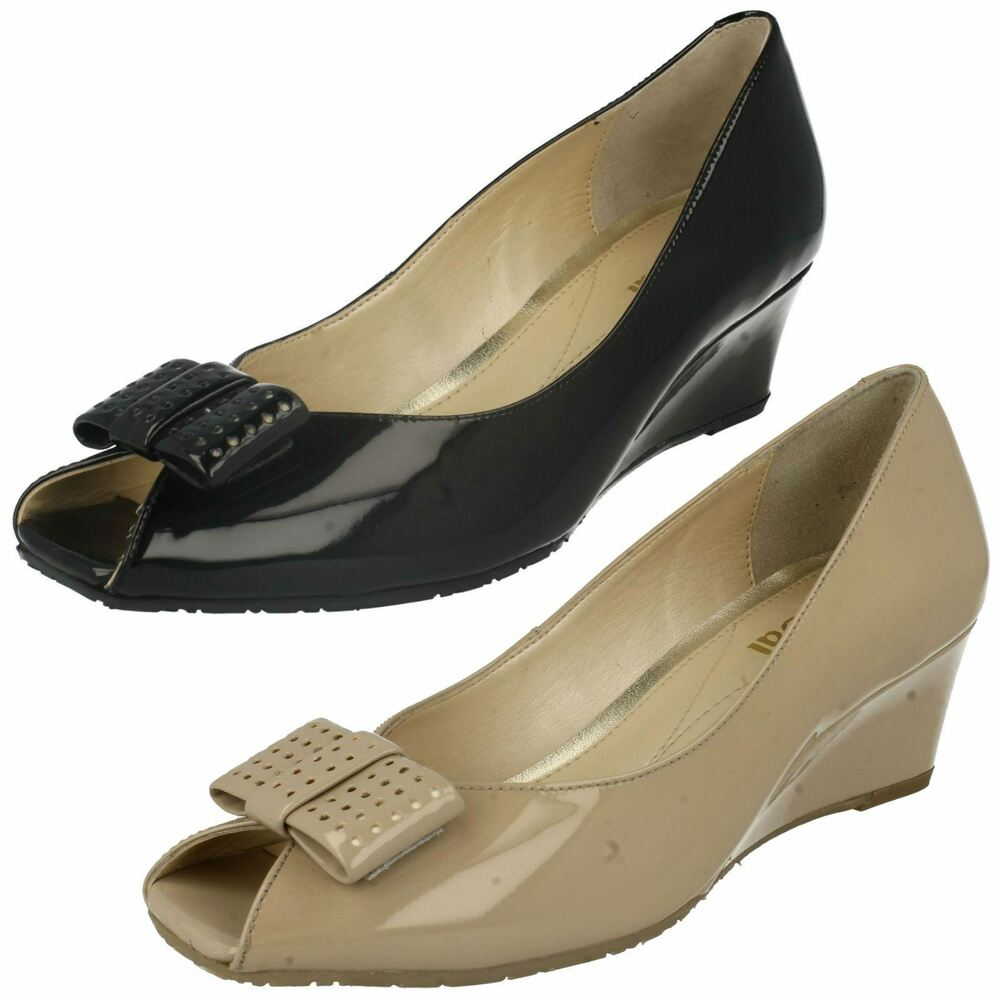 2293a90abd Details about Ladies Nude Patent Leather Slip On Peep Toe Van Dal Wedge  Shoes Pasadena