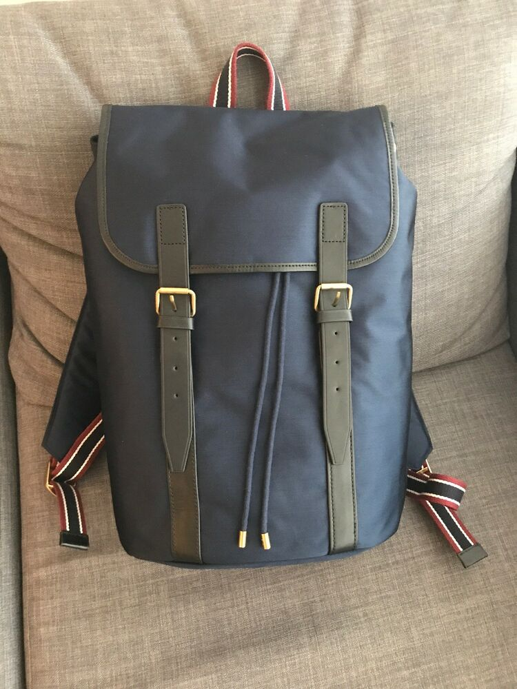 06b496cb53c Details about  228 NEW J Crew Oar Stripe Nylon Leather Backpack Bag Navy  Blue Red White Black