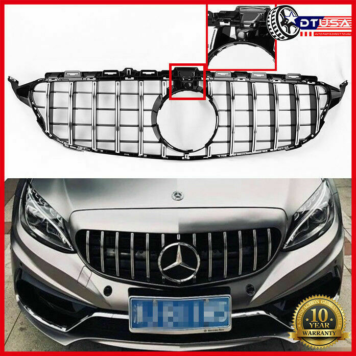 W/ Camera GT R Look Grill Grille For Mercedes-Benz AMG C43