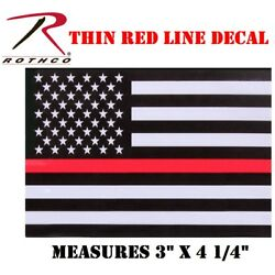 Firefighter Thin Red Line 4'' Flag Decal Sticker Support Firefighters Rothco 1295