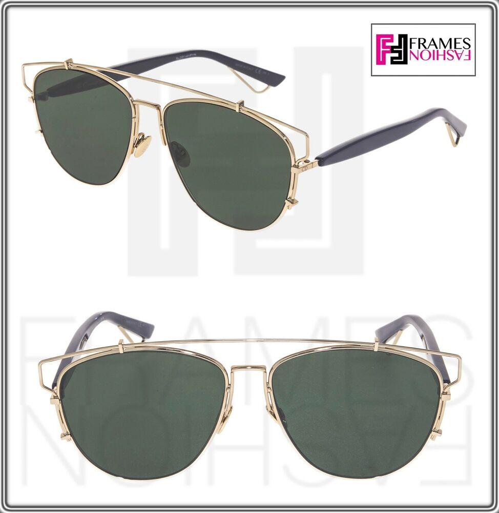 04094680e25f Details about CHRISTIAN DIOR TECHNOLOGIC Gold Navy Blue Green Flat Mirrored  Sunglasses Unisex