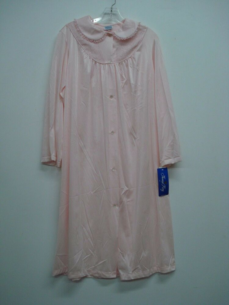 0a761db336 Details about USA Made Nancy King Lingerie Long Robe Size Small Pink  781Q