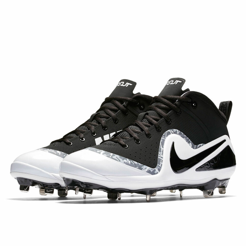 76fca584c7955 Details about New Nike Force Zoom Trout 4 Mid Metal Mens Baseball Cleats -  Black   White  GRAY